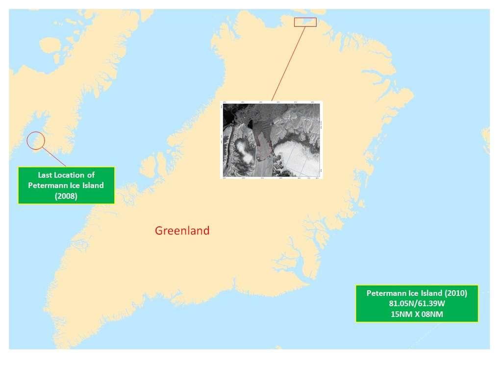 Le glacier Petermann est situé au nord-ouest du Groenland et s'écoule dans le détroit de Nares, entre la mer de Baffin, au sud, et l'océan Arctique, au nord. En 2008, un morceau de 29 km2 s'était détaché et est venu s'échouer sur les côtes de l'île de Baffin, dans la baie Cumberland (indiquée à gauche de l'image). © National Ice Center