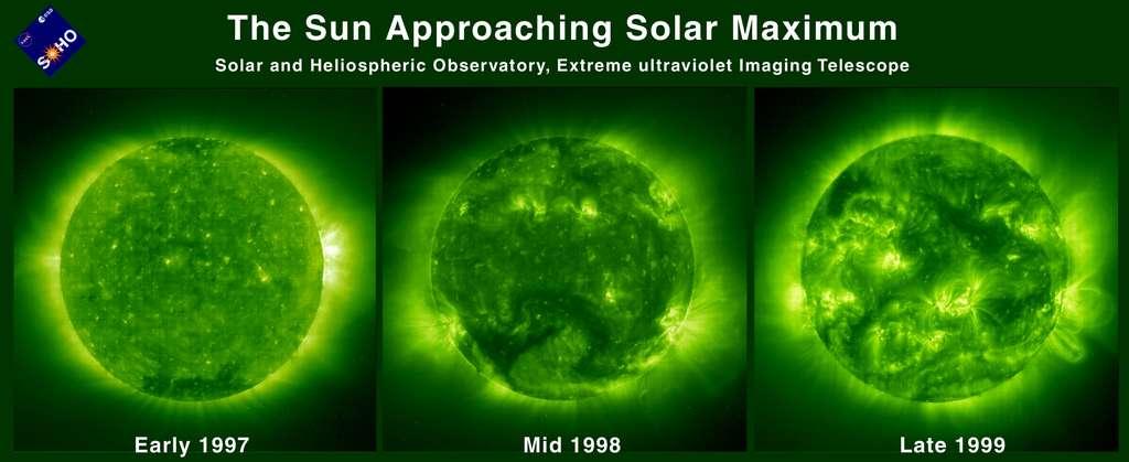 Trois images prises par Soho, dans la bande du fer (XII), à l'approche du maximum solaire de 2000. La couronne, hérissée d'éjections de matière, est bien visible. © Soho, Esa, Nasa