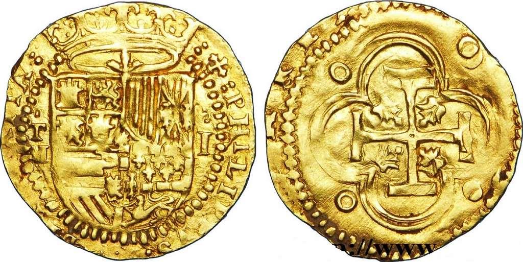 Écu d'or de Philippe II frappé entre 1556 et 1580, utilisé dans l'empire espagnol. © cgb.fr