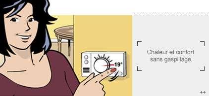 Le chauffage, c'est 19 °C maxi ! Si la température de la Terre pouvait se régler aussi facilement que notre chauffage, ce serait l'idéal ! © Ademe