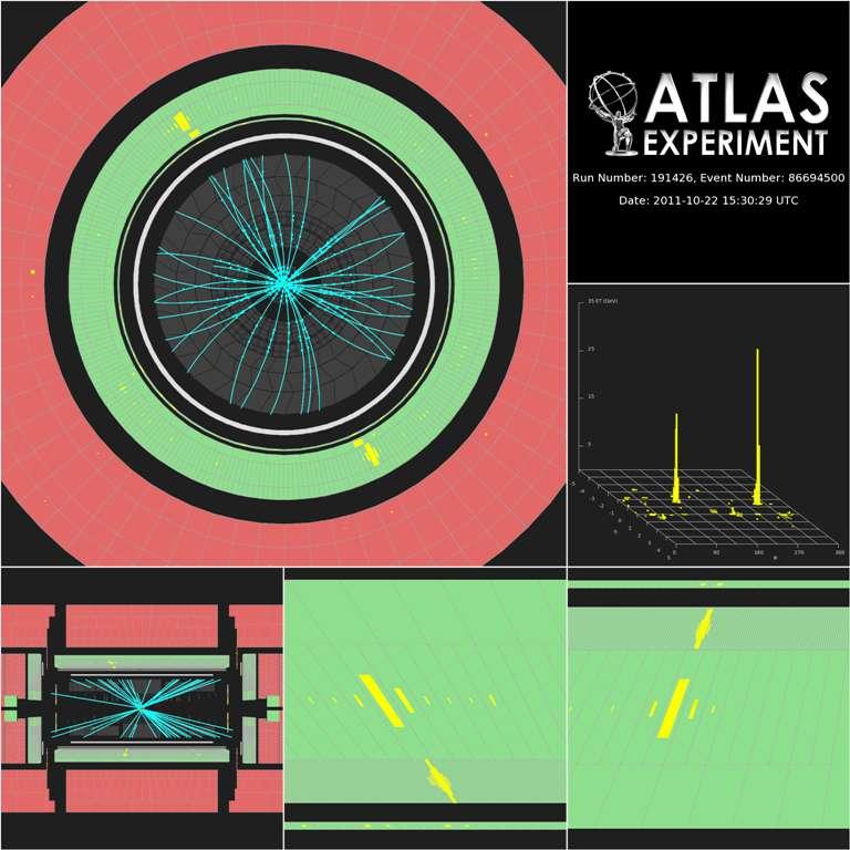 Deux signatures (traits jaunes) obtenues dans le détecteur Atlas sous forme de deux photons partant simultanément dans des sens opposés. L'événement correspondrait bien à la désintégration d'un boson de Higgs dont la masse est d'environ 125 GeV. © Cern