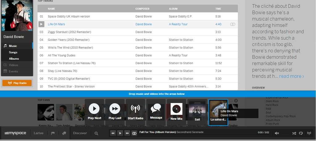 Les morceaux de musique d'un album s'affichent de manière à peu près similaire à Deezer ou Spotify. Si toutefois l'utilisateur souhaite ajouter un morceau à sa liste de lecture « mix », il suffit de glisser-déposer celui-ci vers la barre horizontale. Elle s'agrandit alors et il est possible de placer le morceau dans le dossier « mix » de son choix. © Sylvain Biget, Futura-Sciences