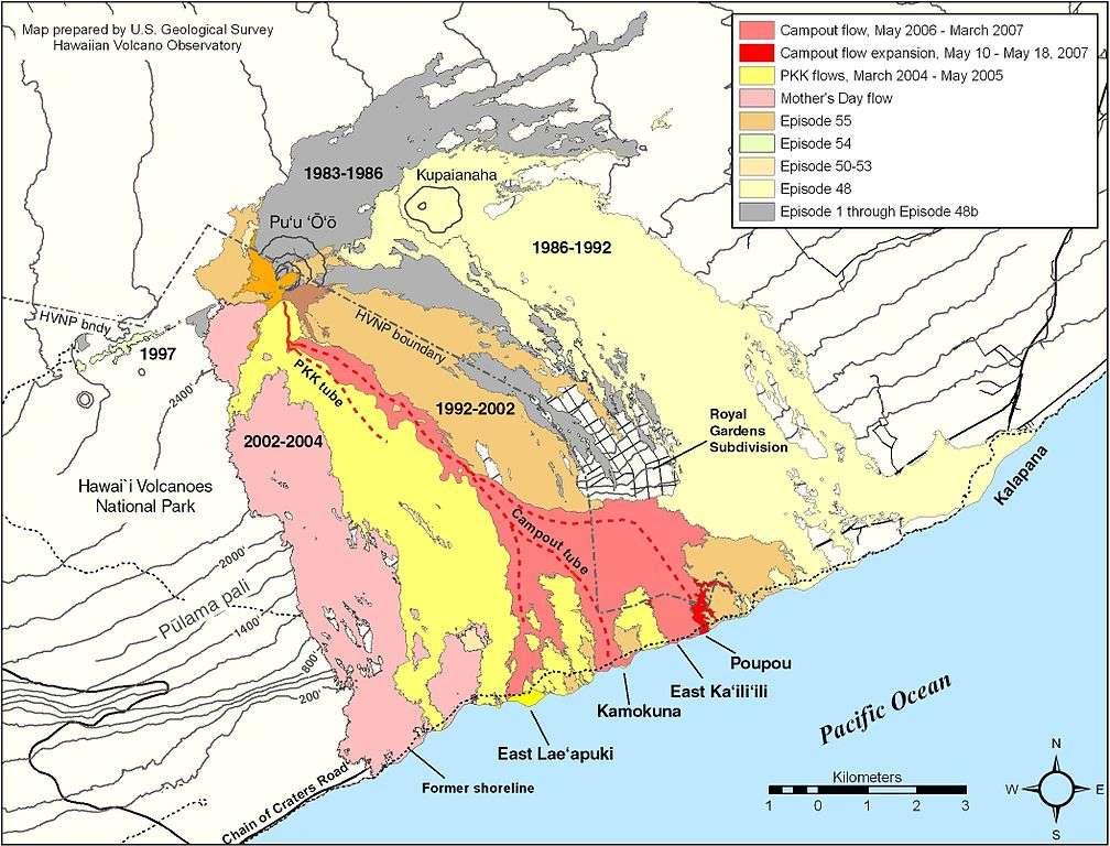 Carte du Pu'u O'o et des alentours de 1983 à 2007. © USGS HVO, wikimedia commons, DP