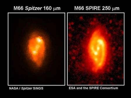Cliquer pour agrandir. M66 observée à gauche par les instruments de Spitzer et à droite par Spire de Herschel. Crédit : Esa-Nasa