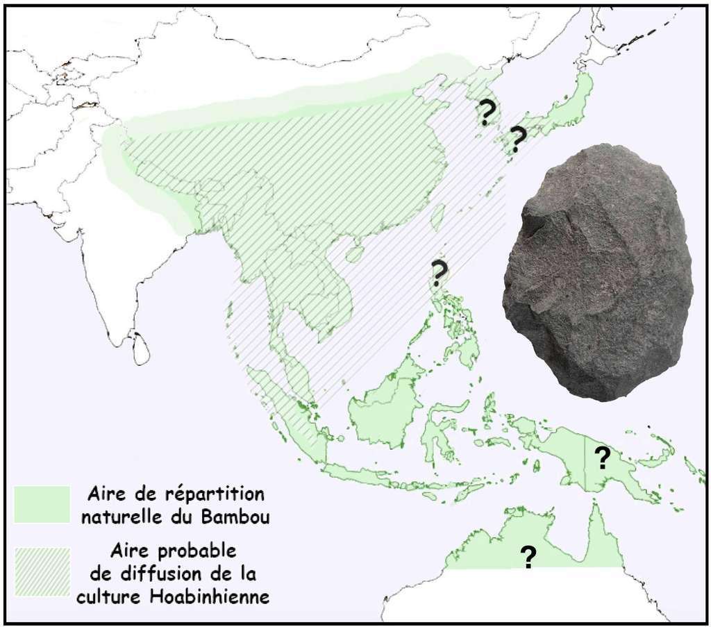 Carte de répartition du bambou et de l'industrie sur galet en Asie, dite Hoabinhienne. Un exemple de galet est présenté à droite de l'image. © Hubert Forestier