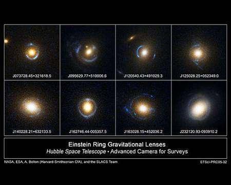 Mirages gravitationnels observés par Hubble. Cliquer pour agrandir. Crédit Nasa/Esa