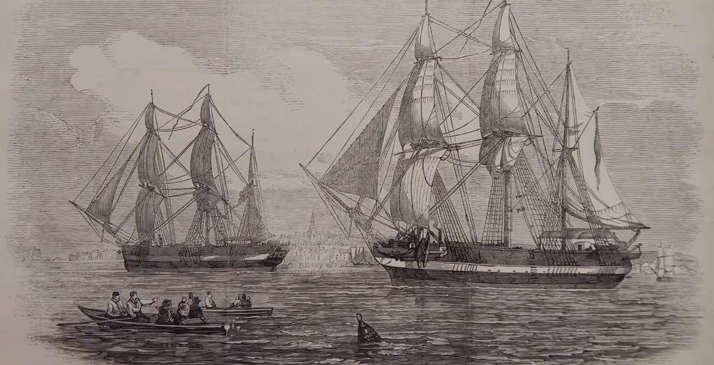 Les navires HMS Terror et le le HMS Erebus ont quitté l'Angleterre en 1845 à la recherche du passage Nord-Ouest dans l'Arctique. © capture YouTube, Parcs Canada