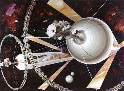 Colonie spatiale de Gerard O'Neill, vue extérieur. Painting by Rick Guidice courtesy of NASA
