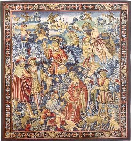 Tapisserie du XVIe siècle montrant une scène de chasse au faucon. © Reproduction et utilisation interdites