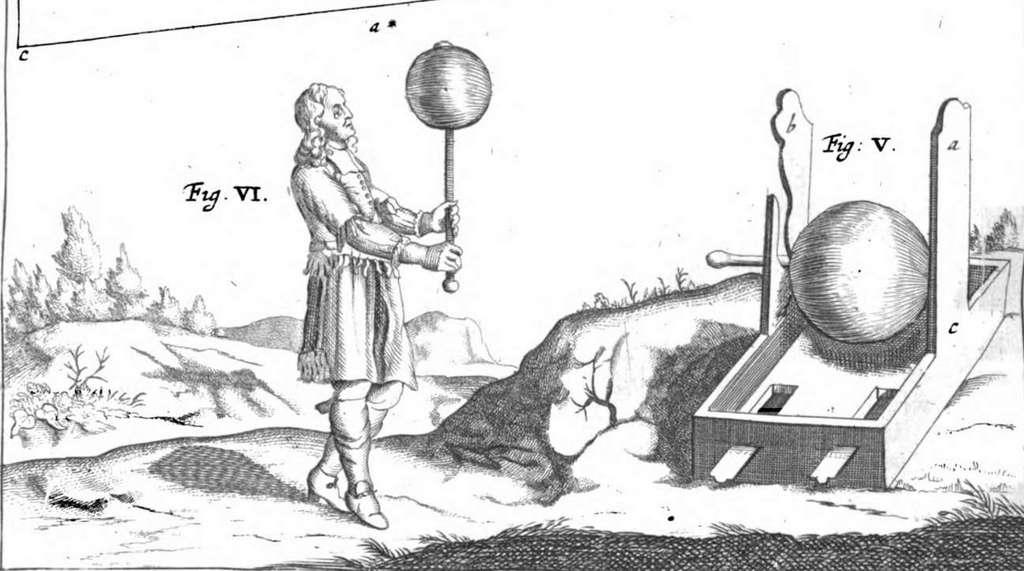 """Gravure : Otto Von Guericke et son expérience du globe de soufre, dans """"Experimenta nova"""" de Janssonius, en 1672. © Wikimedia Commons, domaine public."""