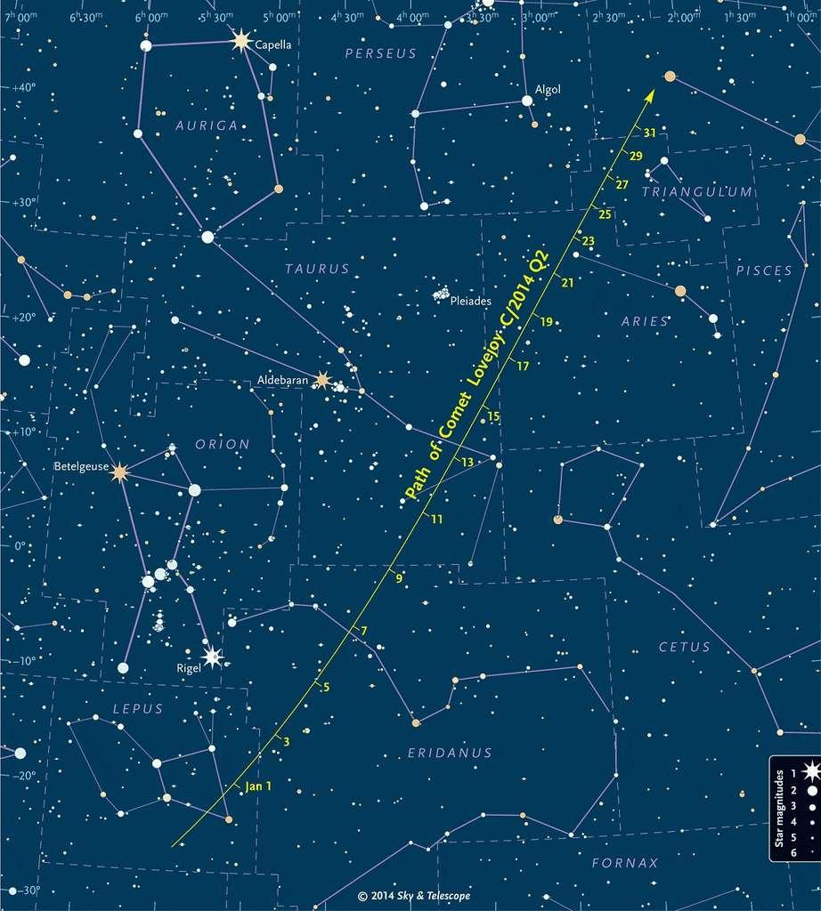 Parcours de la comète Lovejoy entre le 1er et le 31 janvier 2015, à travers les constellations emblématiques du ciel d'hiver, visibles en première partie de nuit, vers le sud-est et le sud. © Sky & Telescope