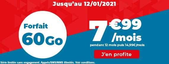 Le forfait 60Go à prix cassé pendant 12 mois © Auchan Télécom