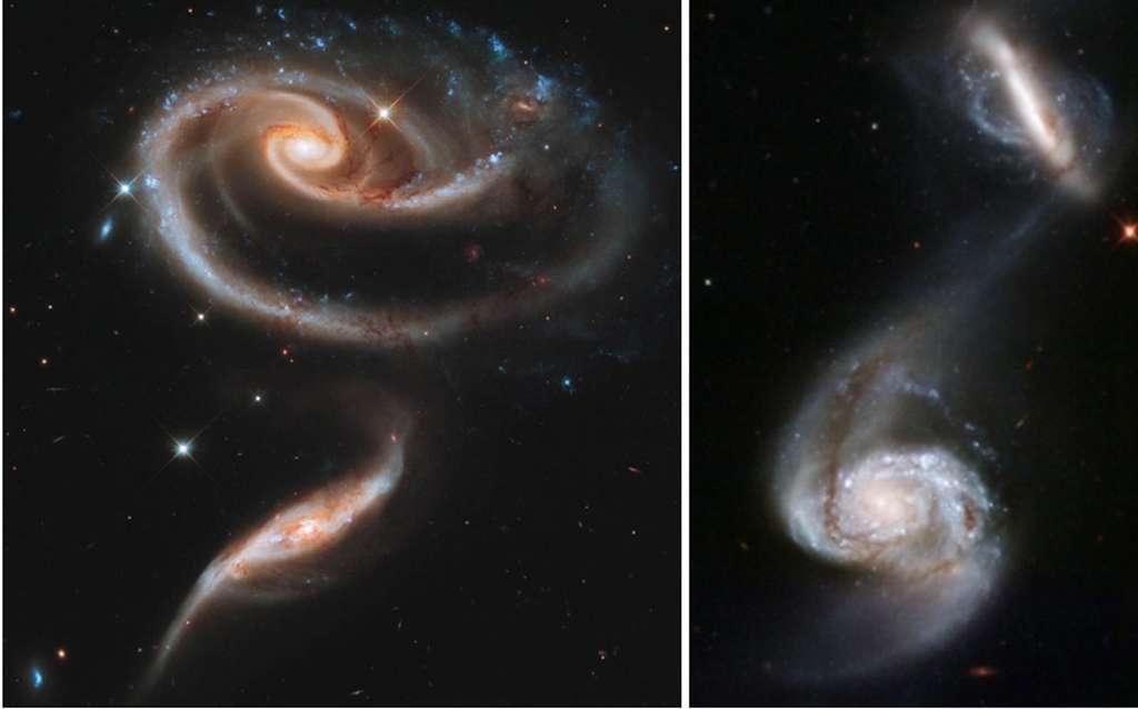 Deux paires de galaxies en interaction. À gauche, ARP 273. À droite, de la matière est échangée entre les deux galaxies : du gaz et de la poussière sont capturés par la plus petite d'entre elles, dans une direction perpendiculaire à son disque. Photos du télescope spatial Hubble. © Nasa, ESA