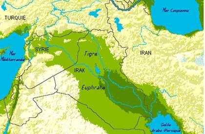 Carte du Tigre et de l'Euphrate au Moyen-Orient. © DR