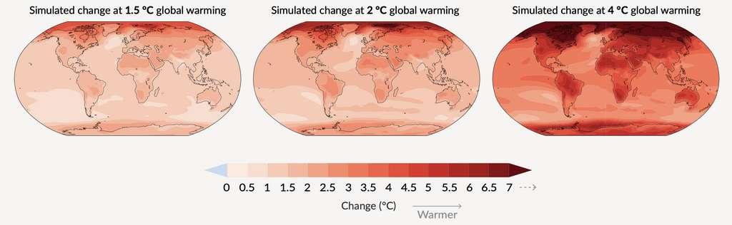 Variation simulée de la température annuelle moyenne (en Cº). © IPCC.