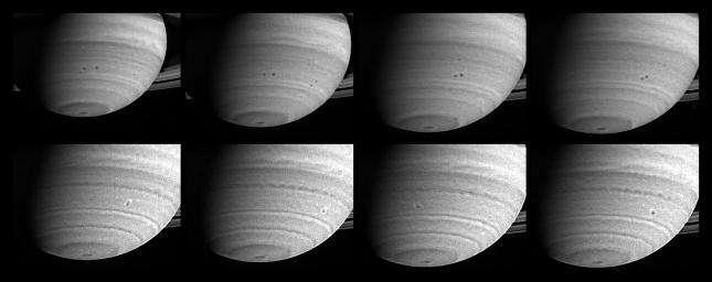 Collision et fusion de tempêtes sur Saturne