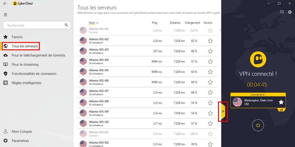 Sélectionnez le pays et le serveur de votre choix en fonction du ping et du nombre d'utilisateurs connectés simultanément. © CyberGhost VPN