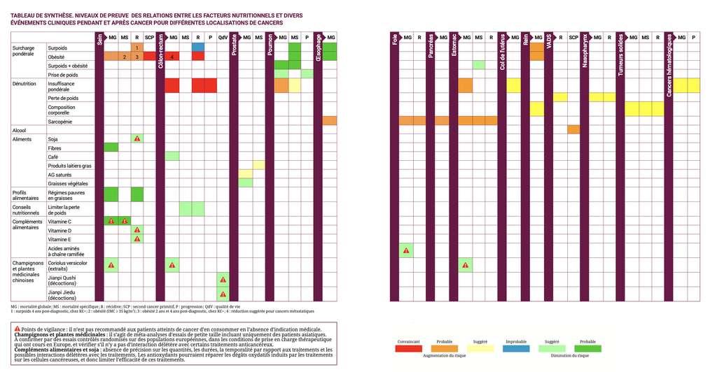 Le tableau de synthèse du rapport.