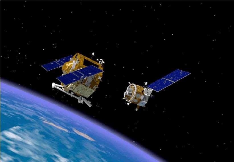 Bien qu'il soit devenu un débris spatial encombrant, Envisat, pour les prochaines années, ne menace aucun satellite. Par ailleurs, il se trouve sur une orbite (768 km) peu fréquentée. © DR