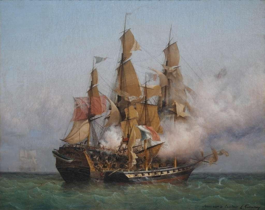 Combat de la Confiance, navire corsaire de Robert Surcouf, contre le Kent anglais en octobre 1800, par Ambroise Louis Garneray vers 1850. Musée d'Histoire de Saint-Malo. © Wikimedia Commons, domaine public.