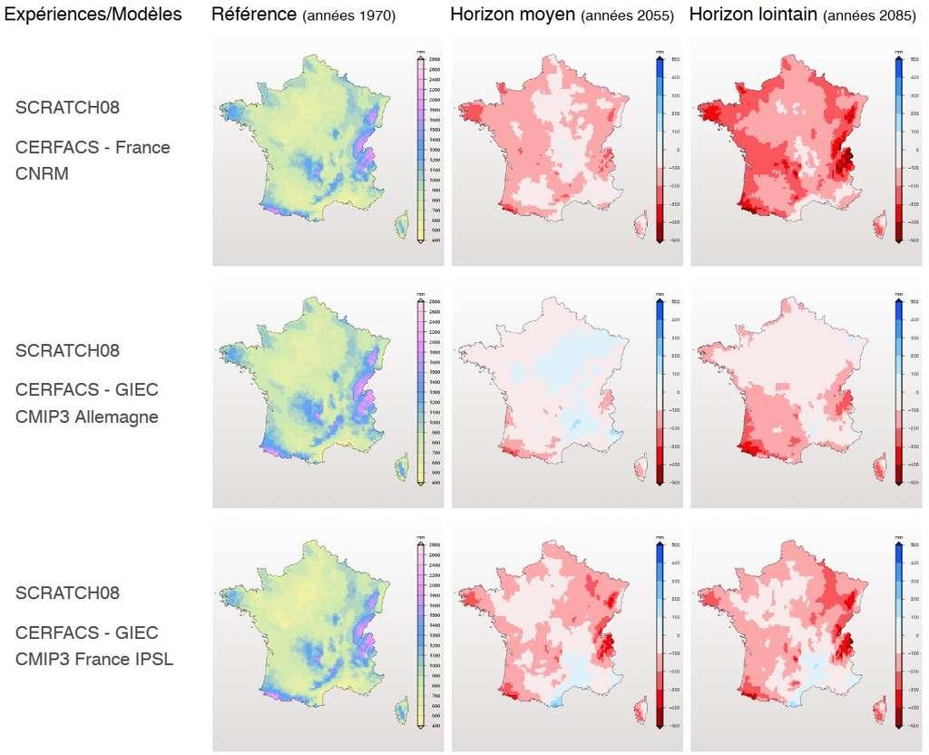 Trois scénarios de l'évolution de la pluviométrie en Métropole. © Drias