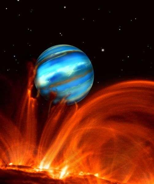 Pour des vacances bien ensoleillées, l'exoplanète TrES-1, à seulement 512 années-lumière de la Terre, pourrait être indiquée. Mais il semble difficile de prendre pied sur cette géante gazeuse de la taille de Jupiter. Cliquez pour découvrir la galerie complète. © David A. Aguilar (CfA)