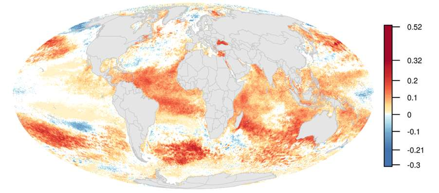 Les variations annuelles de l'impact global de l'Homme sur les océans entre 2003 et 2013. Parmi les aspects les plus marquants : une augmentation spectaculaire des températures en un laps de temps relativement court. © magdal3na, Fotolia