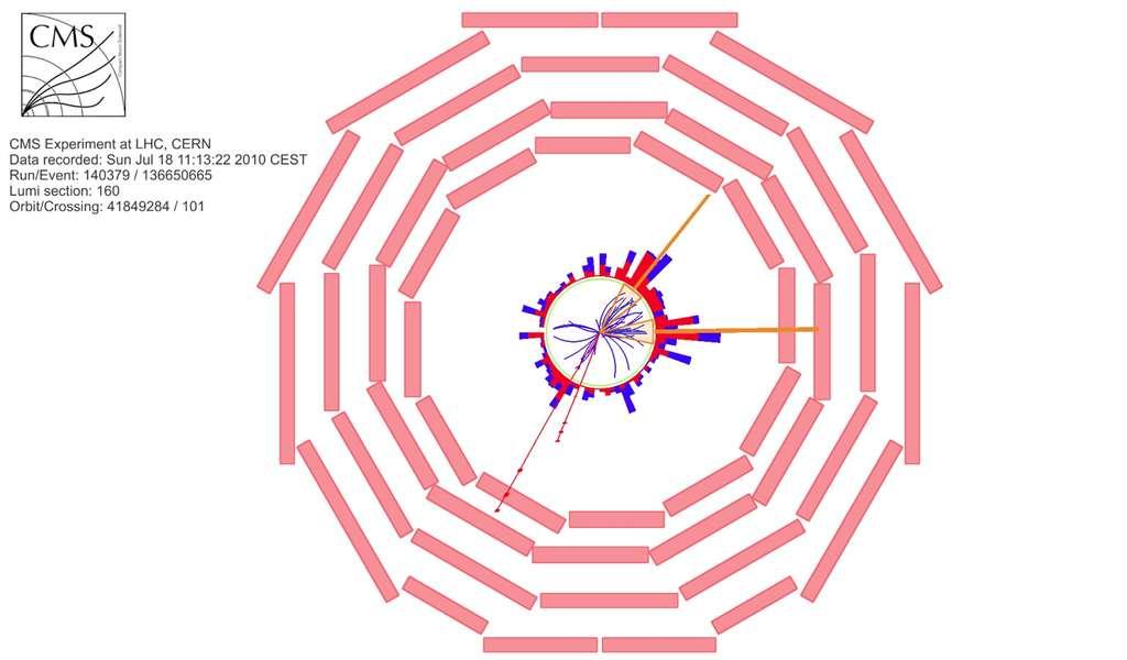 Un candidat à la production d'une paire de quarks top dans CMS, les deux quarks top se désintégrant en un W et un quark b, et les deux W se désintégrant en un muon et un neutrino. Il en résulte 2 muons (traces rouges), 2 jets identifiés comme des jets de quarks b, et de l'énergie manquante (à cause des neutrinos qui s'échappent). Crédit : Collaboration CMS-Cern
