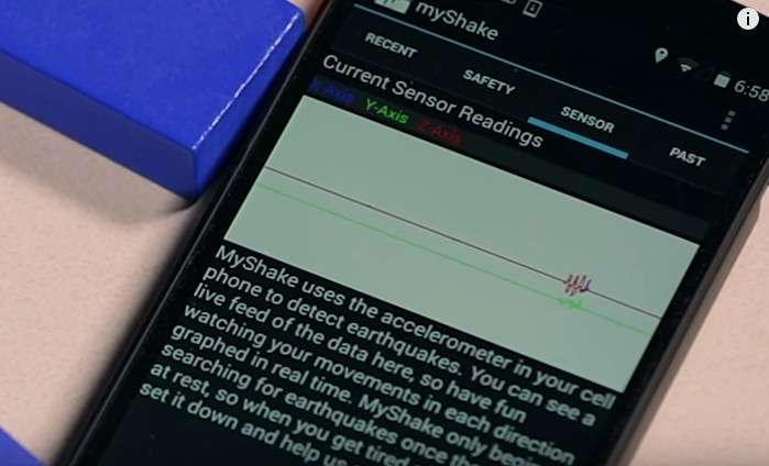 L'application MyShake est déjà disponible gratuitement sur Android. Pour que son fonctionnement soit optimal, il faut que le smartphone soit placé sur une table ou un meuble stable. © UC Berkeley Seismologicial Laboratory