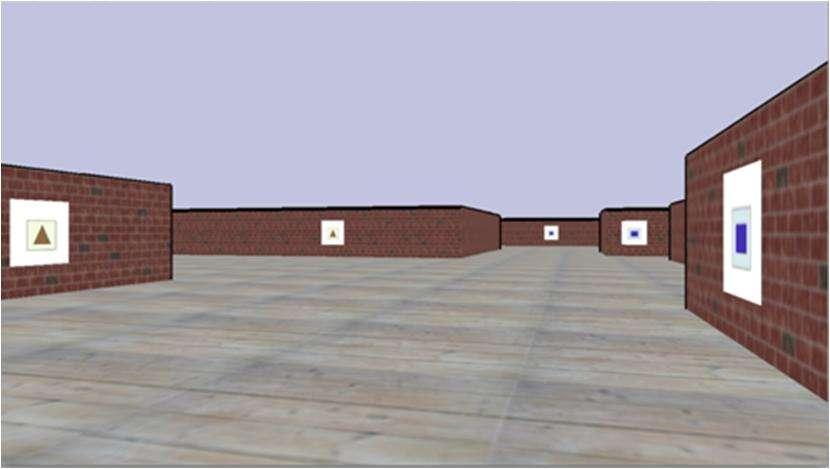 Voici un exemple de ce que les participants pouvaient voir dans les labyrinthes virtuels : les affiches avec les rectangles bleus indiquaient le chemin à suivre, celles avec un triangle marron celui à éviter. © Francine Dolins et al., American Journal of Primatology