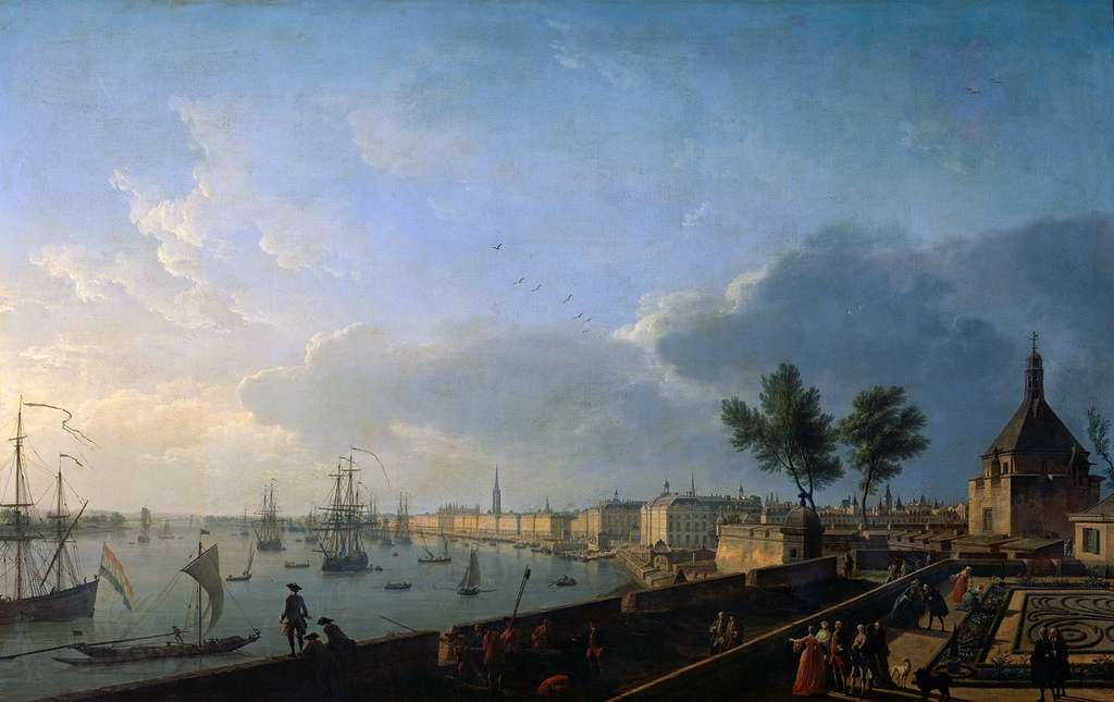 Vue du port de Bordeaux depuis le château Trompette, par Joseph Vernet en 1759. Musée national de la Marine, Paris. © Wikimedia Commons, domaine public