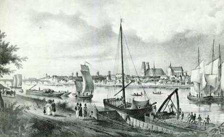 Navigation sur la Loire à Orléans en 1829 par Charles Pensée. On y voit plusieurs sortes de bateaux : chalands, accélérés, rambertes, toues et fûtreaux.