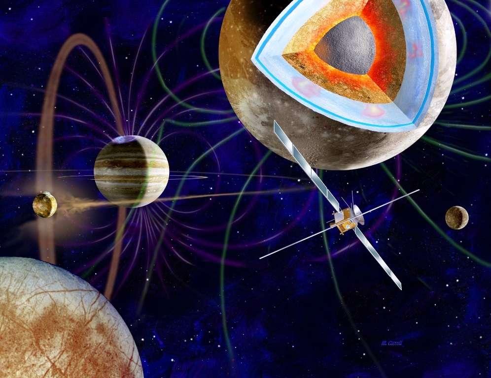 Une vue d'artiste de la mission Juice en orbite autour de Ganymède. Au fond à gauche se montrent Io la volcanique avec son tore de soufre et en bas, au premier plan, Europe. L'étude du moment d'inertie de Ganymède ainsi que la découverte de son champ magnétique laissent fortement penser que cette lune constituée à plus de 40 % de glace contient un noyau ferreux liquide, comme la Terre, ainsi qu'un océan sous sa surface. Des mouvements verticaux, semblables à des diapirs, existent peut-être dans le manteau glacé de Ganymède comme on les voit (en rose) sur la coupe de ce corps céleste. © Esa, M. Carroll