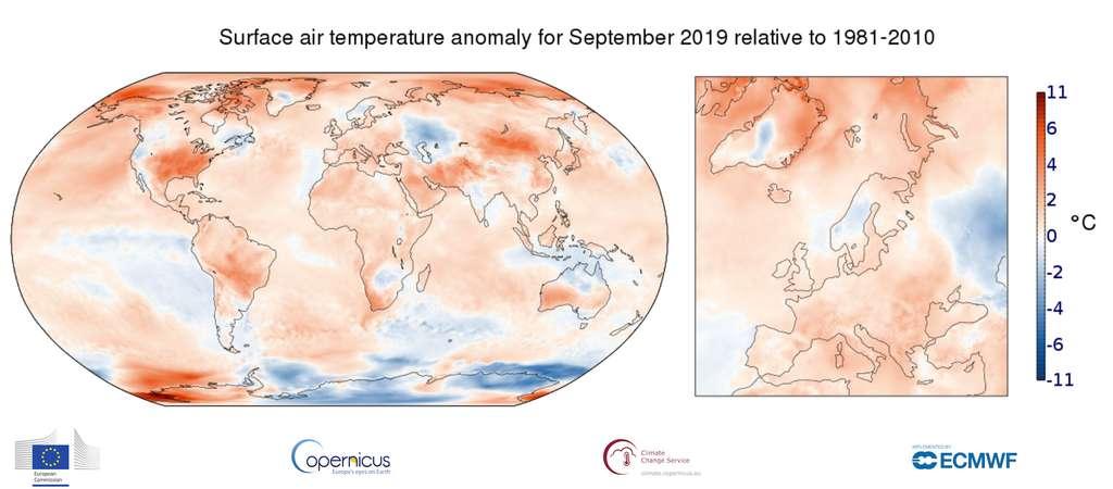 En septembre 2016, les températures s'étaient élevées de 0,554 °C au-dessus des moyennes. C'est un peu plus encore pour septembre 2019. Même si pour la France, rien d'exceptionnel. Le mois de septembre n'entre pas au top 10 des mois les plus chauds. © Copernicus Climate Change Service