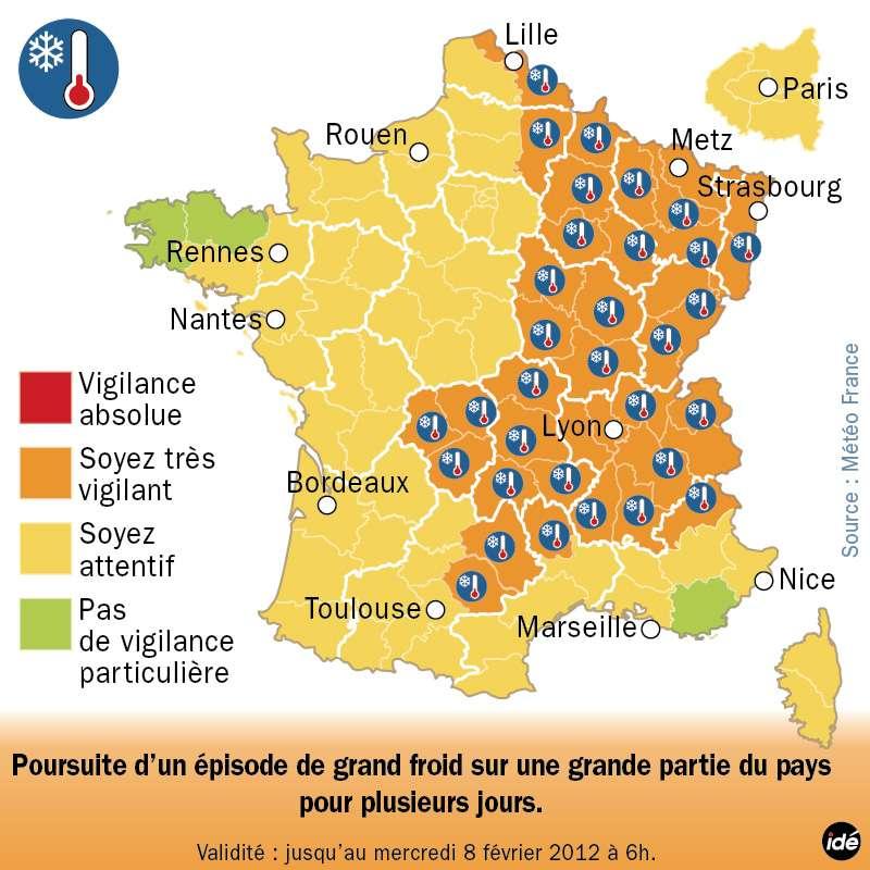 La carte de vigilance, réalisée par Météo-France, pour la journée de mardi 7 février et valable jusqu'à demain matin. Elle concerne 39 départements. © Idé/Météo-France