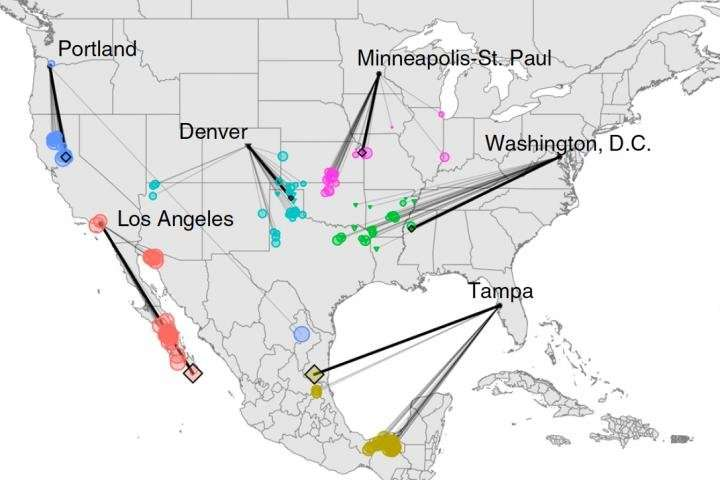 Sans réduction des émissions de CO2, le climat des villes d'Amérique du Nord pourrait ressembler d'ici 2080 au climat de ville situées 800 km plus au sud. © Matthew Fitzpatrick/University of Maryland Center for Environmental Science