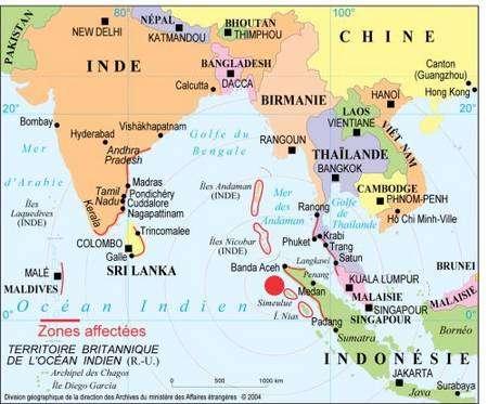 En rouge, l'épicentre du séisme de 2004 ayant causé le tsunami. Crédit : Division géographique du ministère des Affaires étrangères