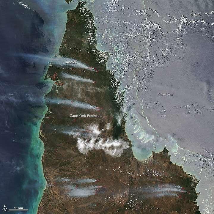 Le 25 novembre 2012, le capteur Modis du satellite Aqua a pris cette image en couleurs naturelles des incendies qui sévissaient sur la péninsule du cap York, la partie la plus septentrionale de l'Australie. Les panaches de fumée provenant des incendies multiples sont visibles à l'ouest. Les lignes rouges indiquent les points où les températures de surface détectées sont inhabituellement chaudes. © Nasa