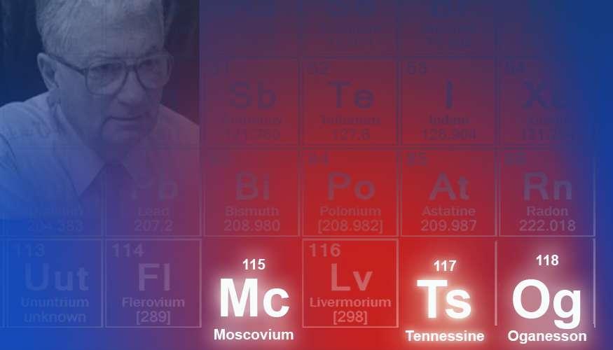 La septième période du tableau des éléments (la ligne 7), désormais complète, possède de nouveaux éléments : 113, 115, 117 et 118. Ils ont été officiellement baptisés nihonium (absent sur cette image), moscovium, tennessine, oganesson. © Lawrence Livermore National Laboratory