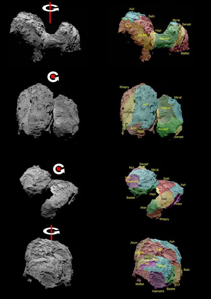 Les différentes régions de la comète 67P/Churyumov-Gerasimenko et son axe de rotation. © Esa