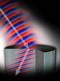 Quand il touche un métamatériau présentant un indice de réfraction négatif, un rayon électromagnétique (ici de l'infrarouge) repart vers l'arrière, comme s'il était réfléchi sur un miroir invisible perpendiculaire à la surface. © Keith Drake