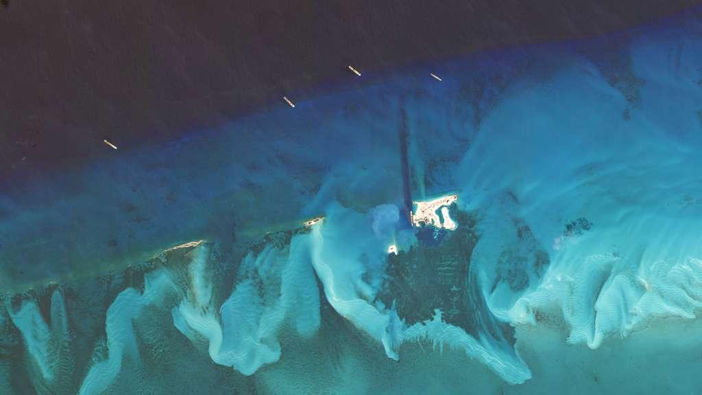 Les paquebots de croisière de MSC stationnés à proximité de la réserve marine Ocean Cay (Bahamas) de MSC. © 2020 Planet Labs, Inc