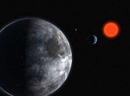 Un système planétaire où une exoterre tourne autour d'une naine rouge de type M comme Gliese 581. Cliquer sur l'image pour l'agrandir. © Eso