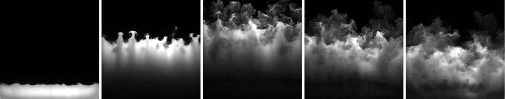 Cette série de photo offre un aperçu des effets produits par la « machine à supernovas ». © Ben Musci, Georgia Tech
