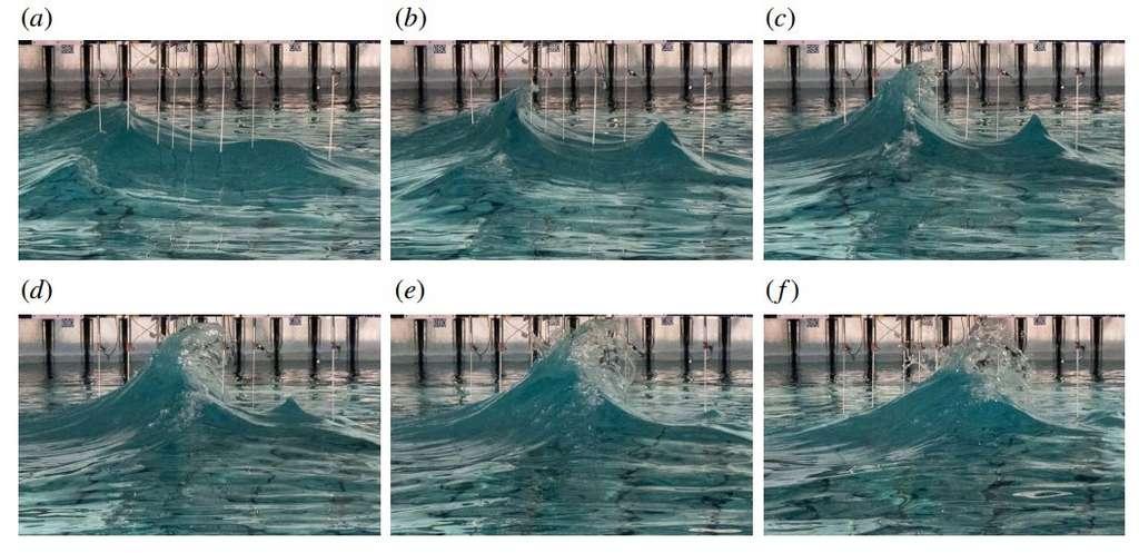 La vague Draupner a été à l'origine de plusieurs années de recherche sur la physique des vagues scélérates, faisant passer le phénomène du folklore à la science. Ici, des photos de la reconstitution de la vague produite par les chercheurs britanniques. © MacAllister et al., Journal of Fluid Mechanics