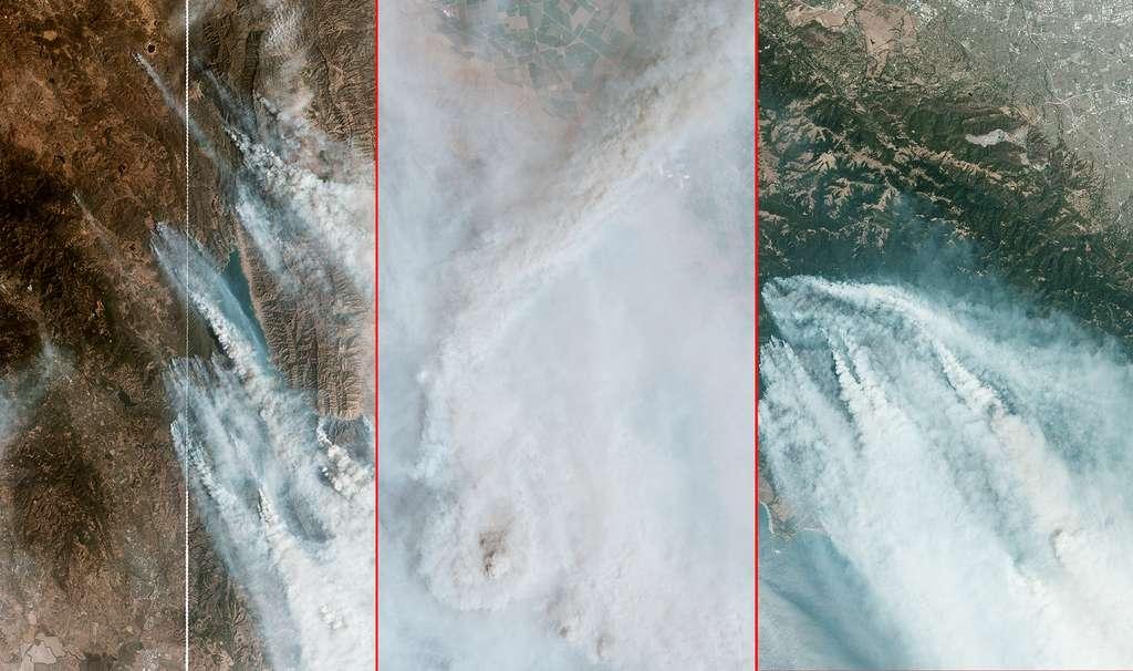 Depuis la mi-août 2020, au moins trois complex fire, LNU, SCU et CZU, ont été identifiés par les autorités. Ensemble, ils regroupent des centaines de feux. Ces images satellites ont été acquises par les satellites de la constellation Planet. © 2020 Planet Labs, Inc.