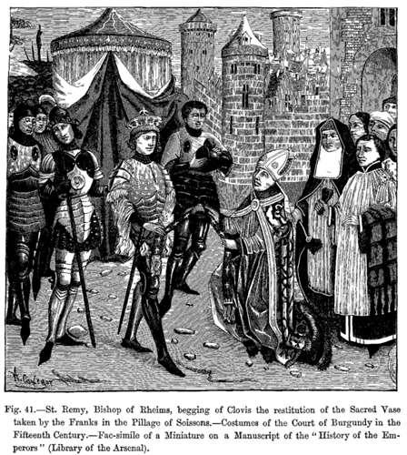 Saint-Rémi demande à Clovis la restitution du vase de Soissons. © DP