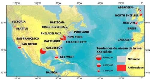 Contribution anthropique minimale dans la tendance du niveau de la mer détectée dans les marégraphes de l'Atlantique du nord au cours du XXe siècle. Chaque cercle correspond à la position d'un marégraphe. Les couleurs correspondent à la répartition de la composante anthropique (rouge) et naturelle (gris) dans la tendance du niveau de la mer. © Mélanie Becker