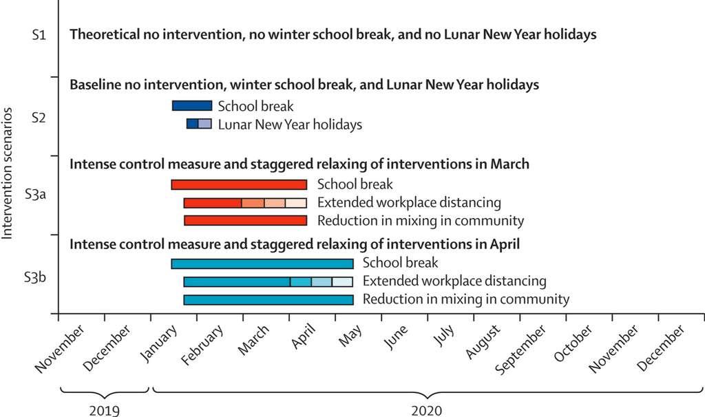 Les mesures de restrictions testées dans la simulation. Aucune mesure, les mesures minimales (violet), des mesures strictes et un assouplissement en mars (rouge) et enfin, des mesures strictes et un assouplissement en avril (bleu). © Kiesha Prem et al., The Lancet