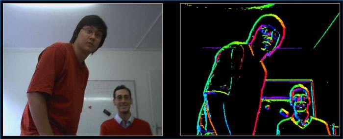 Système de vision du robot : détection bio-inspirée de mouvements, de couleurs et de contours. © Steve N'Guyen et al., 2008/Brain Vision Systems